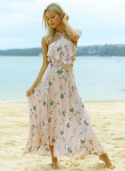 Women's Hlater Floral Print Sleeveless High Slit Maxi Dress STYLESIMO.com