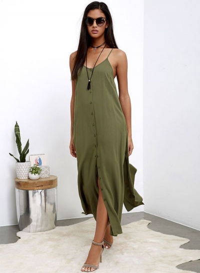 Women's Fashion Spaghetti Strap Sleeveless Solid High Slit Maxi Dress
