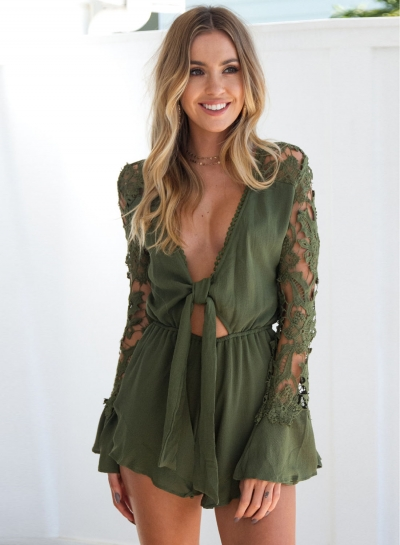 V Neck Lace Panel Tie Front Romper