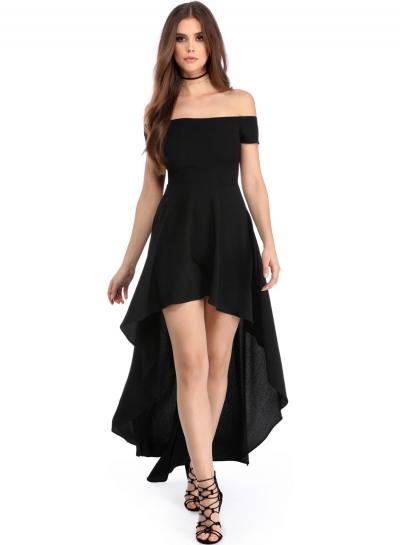 High Low Hem Off Shoulder Party Dress