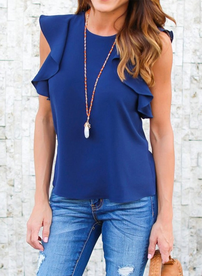 Women's Ruffle Sleeve Solid Chiffon Blouse