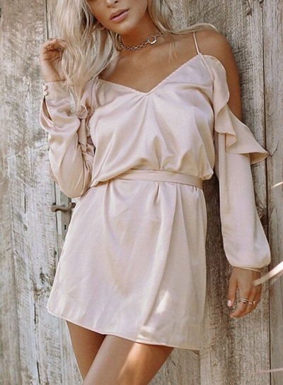 Women's Fashion off Shoulder 3/4 Sleeve Spaghetti Strap Mini Dress