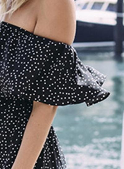 621e34738940 Women s Polka Dot Flounce Sleeve Jumpsuit - STYLESIMO.com