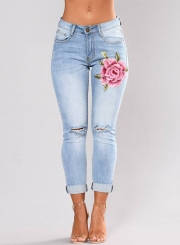 Women's Floral Embroidery High Waist Pants