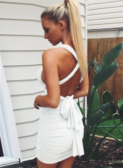 Women's Fashion Deep V Neck Bandage Ruched Bodycon Club Dress