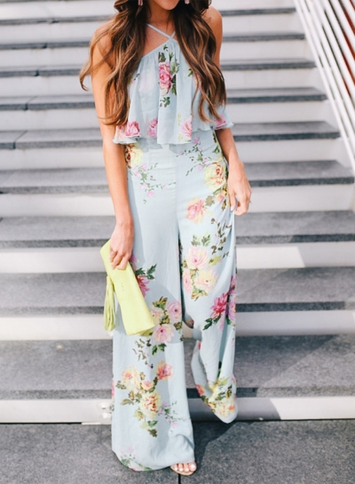 Women's Fashion Floral Halter off Shoulder Wide Leg Jumspuit STYLESIMO.com