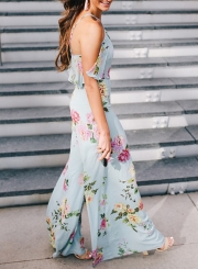 Women's Fashion Floral Halter off Shoulder Wide Leg Jumspuit