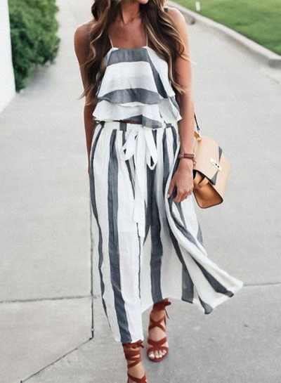 Women's Fashion Striped 2 Piece Maxi Skirt Set