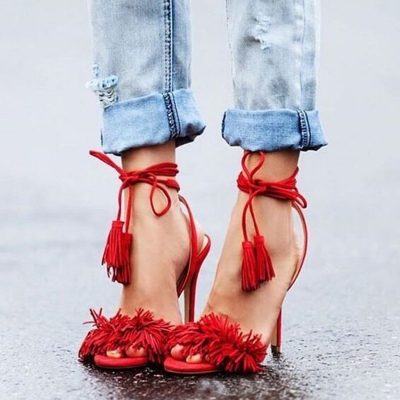 Women's Fashion Open Toe Ankle Lace up High Heels Sandals with Tassel STYLESIMO.com
