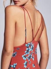 Women's Deep V Neck Floral Print Dress