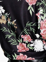 Women's Floral Full Zip Bomber Jacket