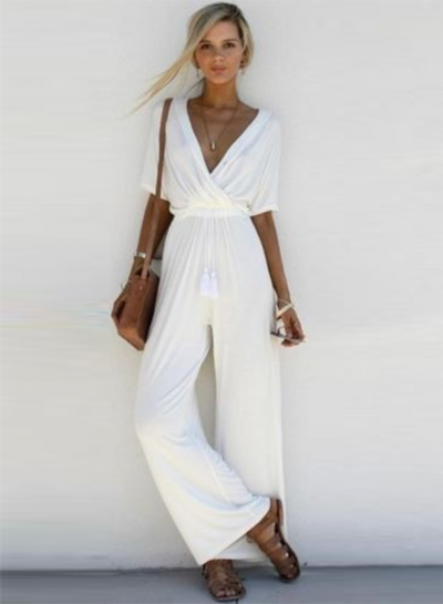 Women's Fashion V Neck Short Sleeve Solid Wide Leg Jumpsuit