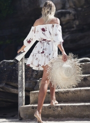Women's Slash Neck Floral Print Dress