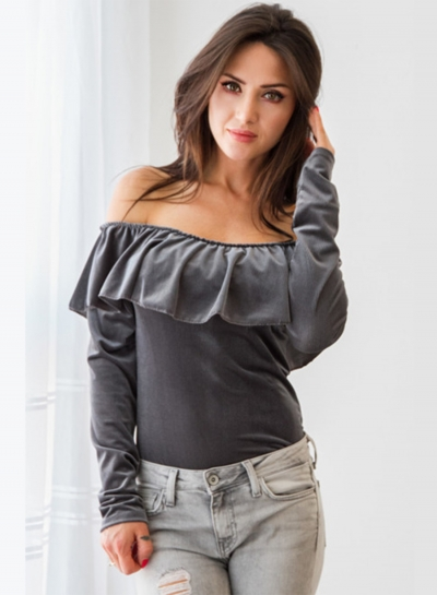 Women's Fashion off Shoulder Ruffle Long Sleeve Solid Blouse