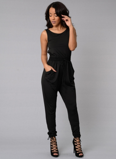 Women's Fashion Sleeveless Back Cross Backless Pockets Drawstring Jumpsuit