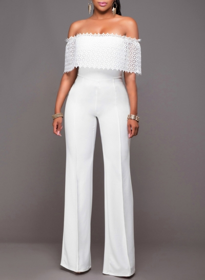 Women's Fashion off Shoulder Lace High Waist Wide Leg Jumpsuit