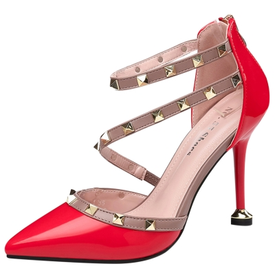 Women's Pointed Toe Rivet High Heels Pumps STYLESIMO.com