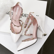 Women's Pointed Toe Rivet High Heels Pumps