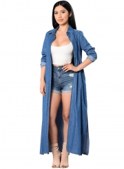 Women's Open front Longline Denim Trench Coat