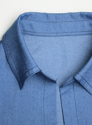 Women's Open front Longline Denim Trench Coat