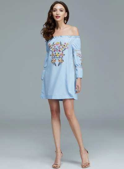 ba95b77905a1 Women s Fashion Floral Prined off Shoulder Long Sleeve Mini Dress  stylesimo.com