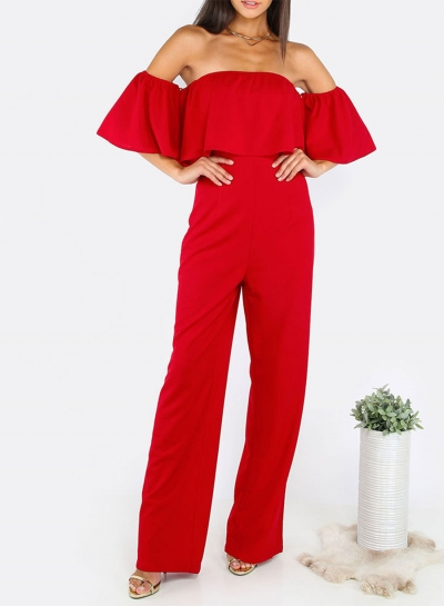 Women's Fashion Solid off Shoulder Ruffle Short Sleeve Wide Leg Jumpsuit