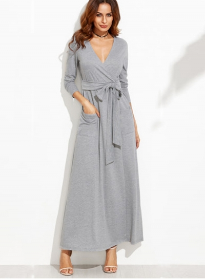 Women's Solid Wrap V Neck Long Sleeve Maxi Dress with Belt
