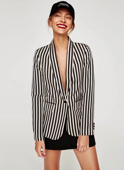 Women's Long Sleeve One Button Striped Blazer