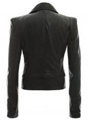 Women's Slim Fit Motorcycle Zip PU Jacket