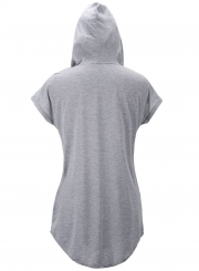 Casual Short Sleeve Loose Fit Solid Hoodie