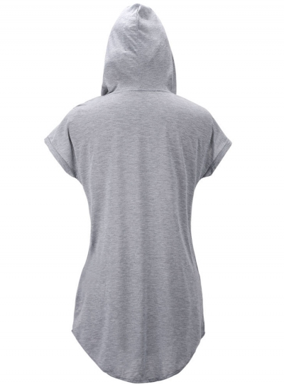 Casual Short Sleeve Loose Fit Solid Hoodie stylesimo.com