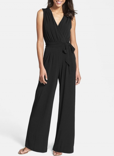 Women's Solid V Neck Sleeveless Jumpsuit with Belt