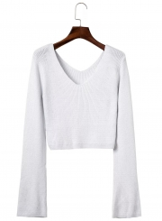 Women's Fashion V Neck Flare Sleeve Cropped Knit Sweater