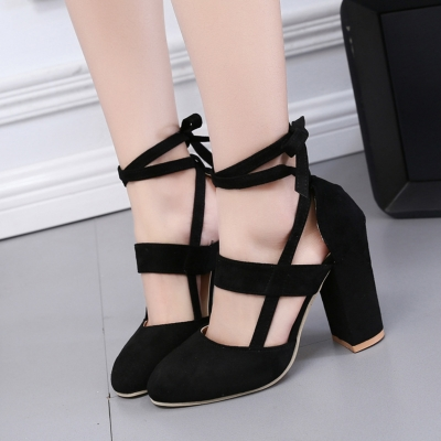 Women's Solid Round Toe Lace up Block