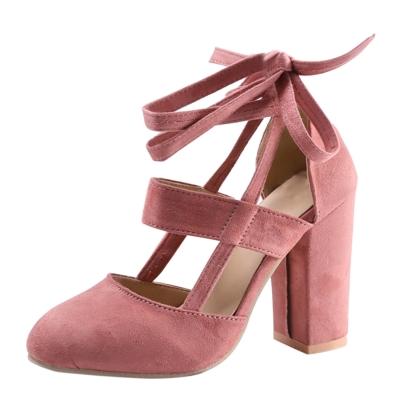 c6cf850bf0e6c Women's Solid Round Toe Lace up Block Heels Pumps - STYLESIMO.com