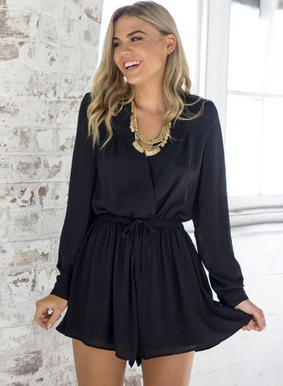 Women's Solid V Neck Long Sleeve Romper