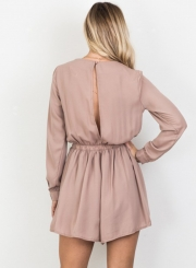 354a59b1652f Women s Solid V Neck Long Sleeve Romper - STYLESIMO.com