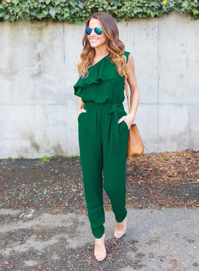 Women's One Shoulder Flounce Panel Chiffon Jumpsuit