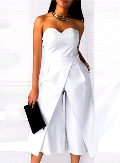 Women's Solid Strapless Wide Leg Cropped Jumpsuit
