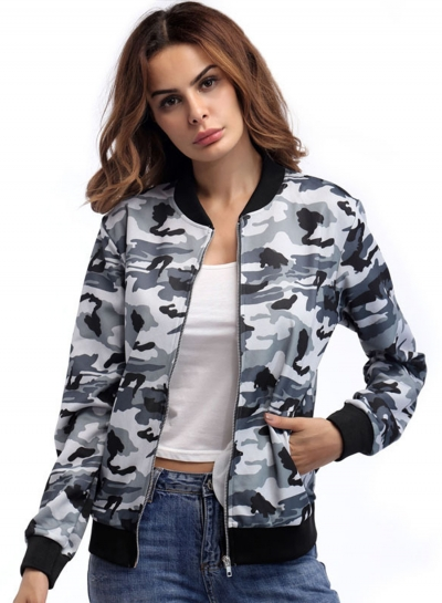 Women's Fashion Casual Long Sleeve Zip Up Camouflage Jacket STYLESIMO.com