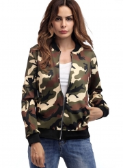 Women's Fashion Casual Long Sleeve Zip Up Camouflage Jacket