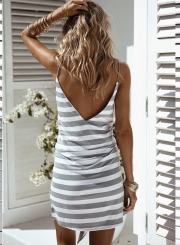 Women's Fashion Spaghetti Strap Bowknot Front Stripe Backless Mini Dress