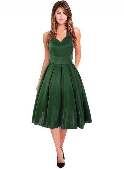 Women's Fashion A-Line Sleeveless V Neck Pleated Cocktail Dress