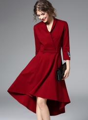 Women's Elegant V Neck 3/4 Sleeve High Low Party Dress