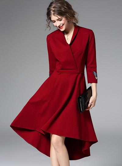 Women's Elegant V Neck 3/4 Sleeve High Low Party Dress