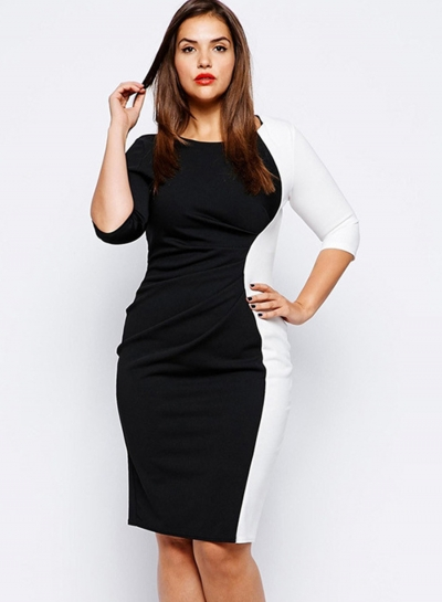 Women's Fashion Plus Size Color Block Bodycon Dress
