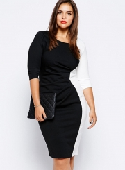 7c7bc707cd2 Women s Fashion Plus Size Color Block Bodycon Dress - STYLESIMO.com