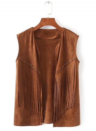 Women's Fashion Open Front Suede Sleeveless Rivets Tassels Vest