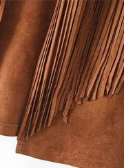 Women's Fashion Open Front Suede Sleeveless Rivets Tassels Vest
