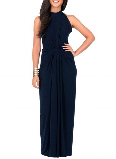 Women's Solid Halter Sleeveless Knot front Maxi Dress